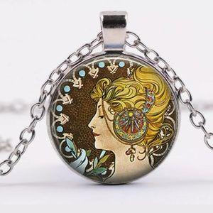 Alphosne Mucha Women Art Silver & Glass Necklace